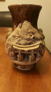 Vintage 3d Vase Pottery Japan Torii Relief Figure Banko Temple Tree Engraved