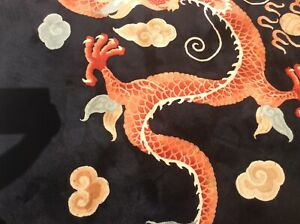 Vintage Chinese Dragon Rug Handknotted Circa 1950 100 Virgin Wool