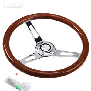 350mm 14inch 6 Hole Wood Steering Wheel With Horn Kit For Chevy Classic New