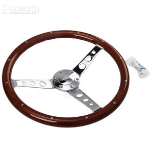 380mm 15inch 6 Hole Wood Steering Wheel With Horn Kit For Chevy Classic New