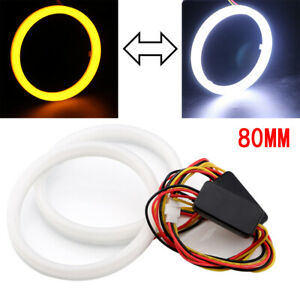 2x Car Cob Led Angel Eyes Lights Halo Ring Kit Lamps Driving Turn Signal 80mm