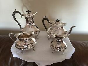 Beautiful Silver Plated 4 Piece Coffee Tea Service All On 4 Pad Feet Sptcs 59