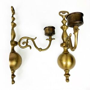 Antique Brass Candle Wall Sconce 12 Pair Colonial Style