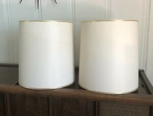 Large Matching Pair Of Vintage Mid Century Modern Stiffel Drum Lamp Shades Euc