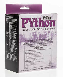 Python Insecticide Cattle Ear Tag 20 pk