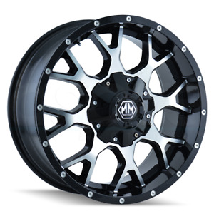 18x9 Black Machined Wheels Mayhem Warrior 8x180 12 Set Of 4