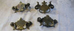 4 Antique Vtg Brass Drawer Pulls Chippendale Style Lot Y