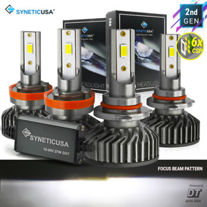Syneticusa 9005 H11 Led Combo Cree Csp Headlight Kit 120000lm Light Bulbs Hi Low