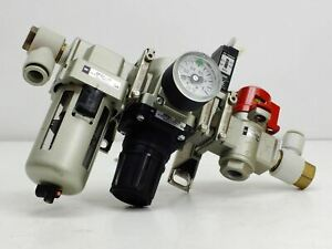 Smc Af30 03 Manifold With Air Filter With Ar30 03g Regulator And Vhs3003 Valve