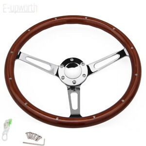 380mm 15inch Wood Steering Wheel Horn Button 6 Hole For Chevy Gmc C10
