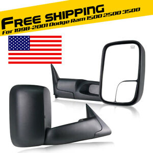 L R Pair Power Heated Towing Mirrors Fit Dodge Ram 1998 2001 1500 1998 2002 2500
