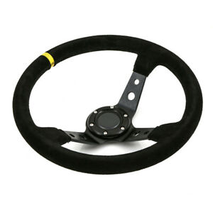 350mm Deep Dish Steering Wheel Drift Track Race Street Suede Fits Omp Hub