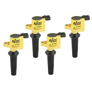 Accel 140505 4 Coil Super Coil Pack Style Socket Yellow Ford Mazda Set Of 4