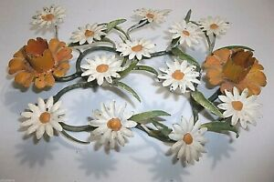 Vintage Italian Metal Toleware Candle Holder Centerpiece Daisies