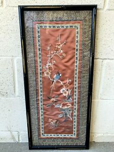 Estate Old House Chinese Antique Hand Made Framed Silk Embroidery Fabric