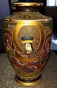 Magnificent Early Meiji Hand Signed Satsuma Detailed Moriage 10 Vase