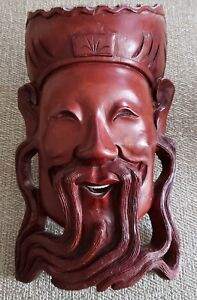 Old Chinese Signed Hand Carved Rosewood Wall Hanging Of Elder W Bovine Teeth