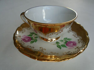 Italian Gold Leafed Fine Bone China Espresso Cup And Saucer