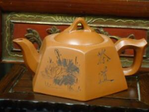 Chinese Vintage Yixing Zisha Pottery Sighned Tea Pot Ee104