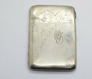 Antiquarian 84 Silver Cigarette Case With Pattern 20 Century