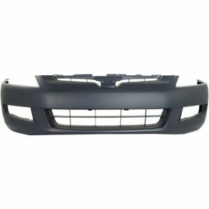 Front Bumper Cover For 2003 2005 Honda Accord 6cyl Coupe W Fog Light Hole Primed