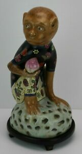 Chinese Famille Verte Porcelain Monkey Statue With Custom Wood Carved Base