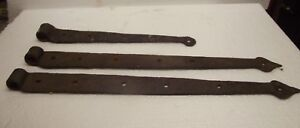 3 Primitive Blacksmith Made Hand Forged Barn Door Gate Hinges Primitive Hinge