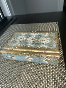 Vintage Florentine Gilt Italian Wood Toleware Trinket Book Shaped Box 9 5 L