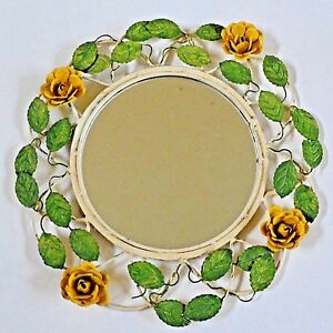 Vintage Tole Yellow Rose Mirror 14 Round Rustic Country Cottage
