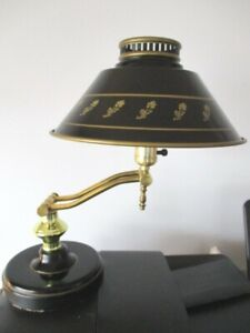 Vintage Articulated Gold Black Tole Library Reading Table Desk Lamp