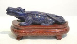 Fine Chinese Carved Lapis Alligator On Stand