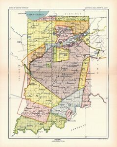 1896 Map Indiana United States Indian Land Cessions Poster 19