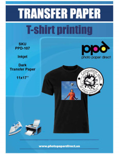 Ppd Inkjet Iron on Dark T Shirt Transfers Paper 11x17 Pack Of 50 Sheets