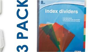 24 Plastic Standard 3 ring Binder Inserts Index Dividers Mixed Colors With Tabs