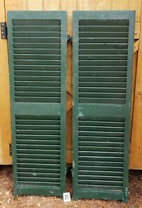 Antique Pair Green Wood Shutters From Home In Maine 14 1 8 X 47 1 8 B