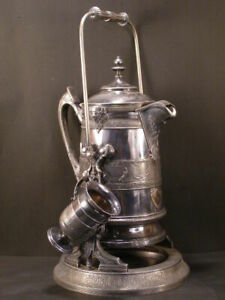 Victorian Silver Tilting Chocolate Coffee Pitcher Tea Pot Kettle On Stand Holder