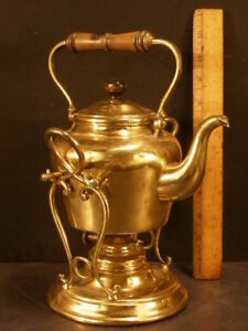 1800 S Brass Tea Pot Kettle On Tilting Stand Samovar Coffee Water Warmer Burner