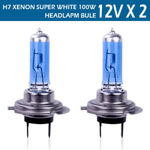 2 Pcs H7 Halogen Headlight 6000k Super White Dc 12v Light Bulbs 100w