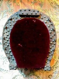 Antique Horse Shoe Small Foot Stool Victorian Ruby Velvet Handmade Ooak
