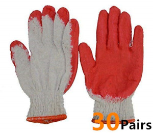 Red Latex Rubber Palm Coated Work Cotton Gloves30 Pairs Heavy Duty Construction