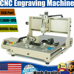 6090 Usb 4axis Cnc Router Engraver 1500w Vfd 3d Cutter Milling Engraving Machine