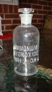 Vintage Embossed Apothecary Lab Bottle With Glass Stopper Ammonium Hydroxide