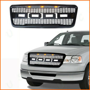 Black 2004 2008 F 150 F150 Raptor Style Conversion Grill Grille F R 3 Amber Leds