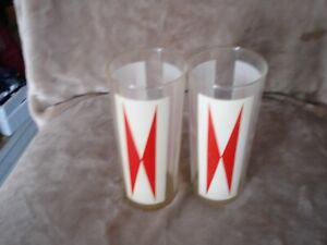 Rare Vintage Drinking Glasses Retro White Clear Red 70s