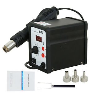 858d Soldering Rework Station Iron Desoldering Hot Air Gun Tool 3 Nozzles Led