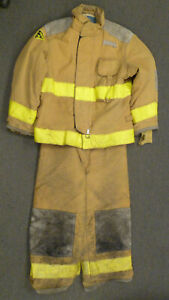 Firefighter Set Jacket 44x29 Pants 36x26 Suspenders Turn Out Gear Janesville S48