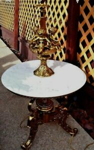 Vintage Stunning Hollywood Regency Cherub Floor Brass Lamp W Marble Table