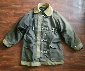 Vtg Fireman Turnout Toggle Coat Jacket Rescue Canvas Sz 42 50s Tin Cloth Police