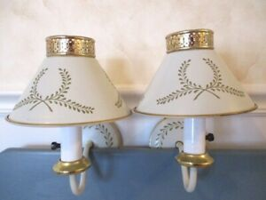 Fabulous Pair Vintage Off White Mid Century Tole Pinup Wall Sconce Lamps Lights