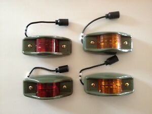 New Humvee Military Clearance Lights Amber Red Set Of Four 4